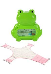 Baby Bath Thermometer Cum Baby Shower Net - BKM04 (Green Frog)+BSN (Pink)