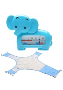 Baby Bath Thermometer Cum Baby Shower Net - BKM04 (Blue Elephant)+BSN (Blue)