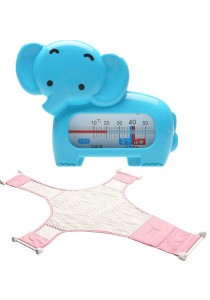 Baby Bath Thermometer Cum Baby Shower Net - BKM04 (Blue Elephant)+BSN (Pink)