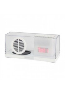 Sardine SDY033 Portable Bluetooth 2.1 + EDR Stereo Speaker with FM Radio Built-in Mic LED Time Display - White