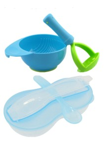 New Peanut Shape Feeding Bowl With Spoon Cum Baby Food Fruits Supplement Grinding Tool & Bowl - BKM16 (Blue)+BKM13 (Blue)