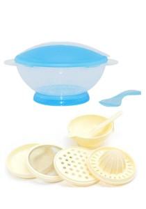 Translucent Portable Baby Training Bowl Feeding Set Cum Baby Food Making Set - BKM15 (Blue)+yphb-Y26503
