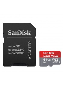 SanDisk 64GB Ultra MicroSDXC UHS-I Card with Adapter (SDSQUNC-064G-GN6MA)