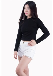 High Neck Long Sleeve Cotton Tops SE01011ABK