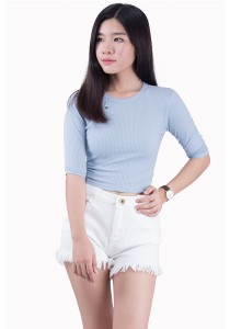 Sky Blue Round Neck Back Ribbon Tops