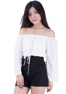 Snow White Off Shoulder Cotton Tops