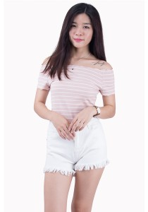 Off Shoulder Stripped Tops SE01014APK