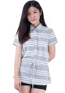 Tie Waist Button Short Sleeve Cotton Tops