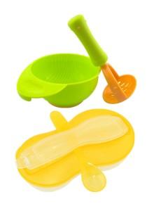 New Peanut Shape Feeding Bowl With Spoon Cum Baby Food Fruits Supplement Grinding Tool & Bowl - BKM16 (Orange)+BKM13 (Green)