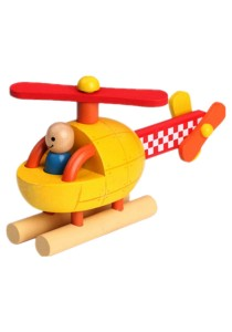 Children Wooden Removable Magnet Aircraft Toys For Kids -BKM35 -Helicopter
