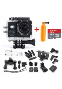 SJ7000 Action Camera 2-inch LCD Wifi Waterproof Sports Cam Black + Micro SD 16gb + Diving Pod
