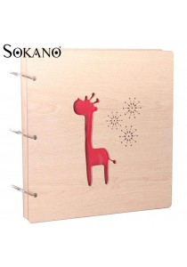SOKANO Premium Wooden Cover DIY Photo Album- Giraffe Design