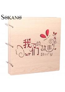 SOKANO Premium Wooden Cover DIY Photo Album- Our Story Design