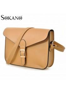 SoKaNo Trendz Retro Style Waxed PU Leather Sling Handbag - Light Brown