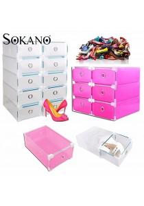 (Bundle Set of 4) SOKANO Premium Drawer Style Hard Plastic DIY Shoe Organizer Box