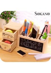 SOKANO Korean Style Wooden Type Table Organizer with Message Board