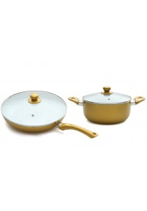 ASOTV Ceramic Cookware 4P Set with Lid (28cm Pan + 22cm Pot) [P2822]