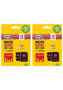 Strontium 16GB MicroSD Card Nitro UHS-1 With Adaptor & USB Card Reader (Set of 2)