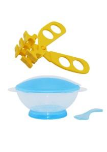 Translucent Portable Baby Training Bowl Feeding Set Cum Multifunctional Baby Food Scissors - BKM15 (Blue)+AP1305 (Yellow)