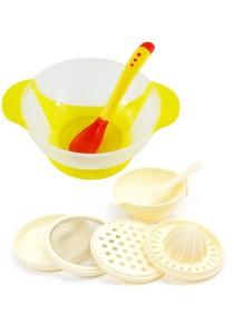 Baby Food Supplement Temperature Sensor Sucker Bowl Cum Baby Food Making Set - BKM14 (Yellow)+yphb-Y26503