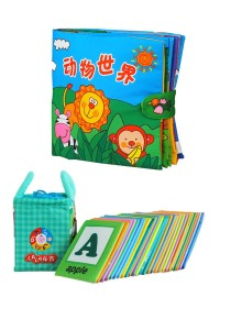 Cloth Alphabet Learning Card 0-3 Years Old Cum Cloth Book - Animals World 0-3 Years Old (BKM01+BKM03)