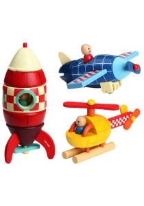 Children Wooden Removable Magnet Aircraft Toys For Kids 1 Set 3 Item (BKM35)