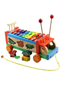 Wooden Multifunctional Tractors Serinette Toddler Glockenspiel Xylophone (BKM34)