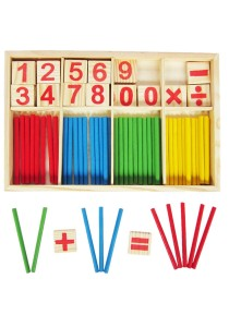 Wooden Number Cards and Counting Rods with Box -BKM33