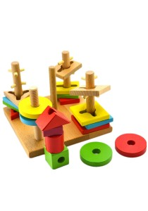 Educational Building Blocks, Layers of Stacked 5 Column Set, Wooden Toys -BKM32