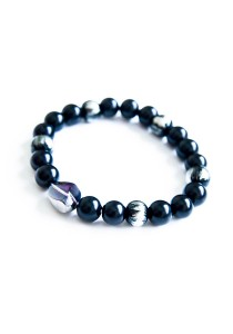 Silver in the Darkness Handmade Unisex Bracelet (Silver Black)