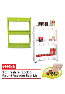 Multipurpose 3-Layer Portable Storage Rack with Wheels - Green (FREE 1 x Fresh ´n´ Lock 8˝ Round Seal Lid)