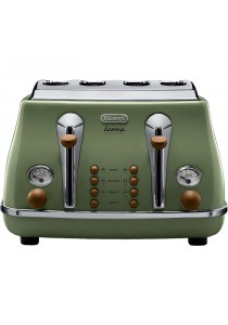 Delonghi CtTOV4003.GR Stainless Steel Toaster 4Slice (Green)
