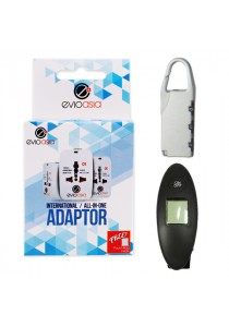 3-in-1 Travel Kit includes Luggage Scale, Luggage Lock, Travel Adapter