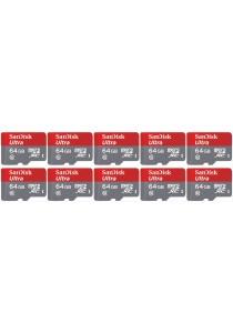 SanDisk 64GB Ultra MicroSDXC UHS-I Card with Adapter (SDSQUNC-064G-GN6MA-10U) - 10 Units