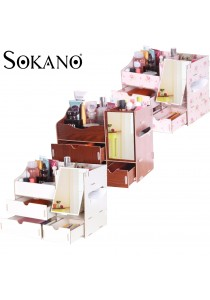 SOKANO Premium DIY Wooden Cosmetic and Table Organizer With Mirror and Drawers