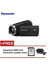 Panasonic HC-V180K Full HD Camcorder (Black) + 8GB + Case