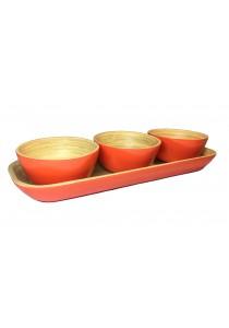Oriental Tree 4-pc Bamboo Dip Bowl Set (Orange)