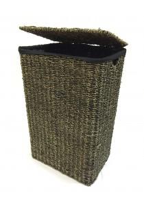Weave & Woven Laundry Hamper Basket (Black Washed)