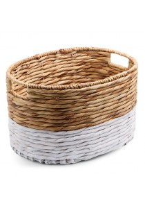 Weave & Woven Oval Utility Basket (Natural & White)