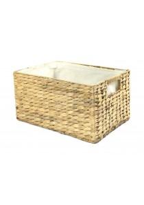 Weave & Woven Rectangular Basket with Linen (Natural)
