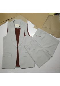 Korea Style Women Sleeveless Waistcoat Cardigan 2 Piece Tops Vest + Pants Suit (Green)