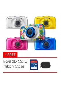 (Official) Nikon Coolpix W100 Waterproof Digital Camera + 8GB + Case (Blue/ Yellow/ Pink/ White/ Marine)
