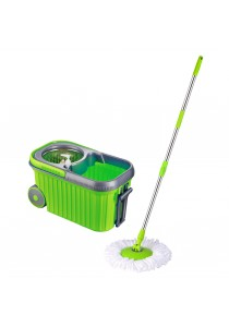 Easy Mop Microfiber Spin Mop Wheels Pail & Stainless Steel Basket ( Additional 2 Mop Heads)