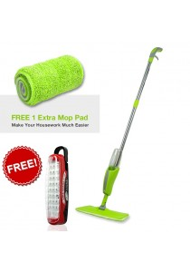 Washable Microfiber Stainless Steel Pole Spray Mop + FREE 1 Extra Mop Pad + FREE 1 Super Master 27 LED Multi-purpose Light