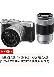 Fujifilm Finepix X-A2 Twin Lens XC16-50mm + 50-230mm + 16GB + Case (Silver)
