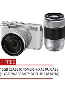 Fujifilm Finepix X-A2 Twin Lens XC16-50mm + 50-230mm + 16GB + Case (White)