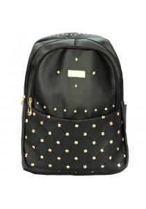 EDISON XB1508 Casual Stylish PU Waterproof Backpack 18 (Black)