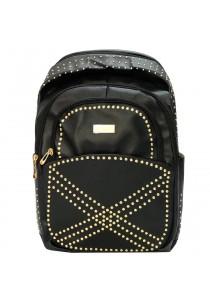 "EDISON XB1510 Casual Stylish PU Waterproof Backpack 18"" (Black)"