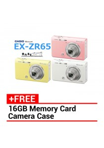 Casio Exlim EX-ZR65 Digital Camera + 16gb + Case (White/Yellow/Pink)