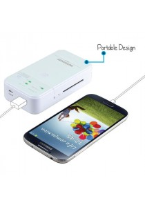 PROMATE Moxi - Power Bank With Built-in Universal Charger - White
